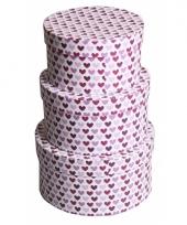 Ronde kado verpakking paarse hartjes 14 cm