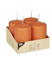 Ronde oranje kaars 8 cm 4 stuks
