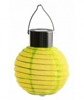 Ronde solar party lampion geel 10 cm
