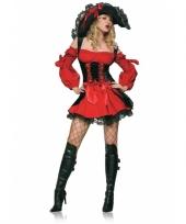 Rood met zwart piraten kostuum voor dames