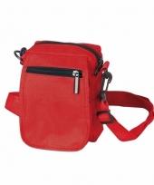 Rood schoudertasje met rits 15 cm