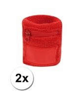 Rood zweetbandje met rits 2 stuks