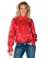 Rouches shirt voor dames rood