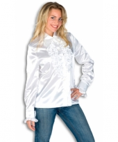 Rouches shirt voor dames wit