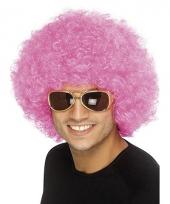 Roze afro pruiken