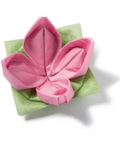Roze bloem servetten origami 12 stuks