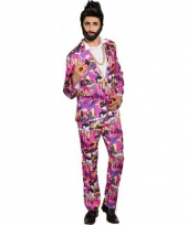 Roze business suit met 80s pint