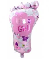 Roze geboorte folieballon voetje