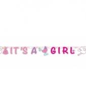 Roze geboorte letterslinger 170 cm