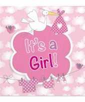 Roze geboorte servetten 20 stuks