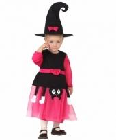 Roze heksen verkleed kostuum met hoed voor kids