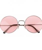 Roze hippie bril met grote glazen