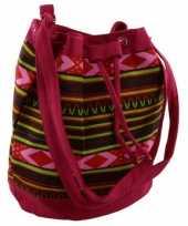 Roze hippie tas voor dames 30 cm