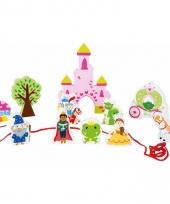 Roze houten prinsessenkasteel set met figuurtjes