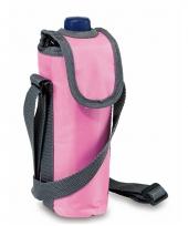 Roze koeltas voor fles met schouderband