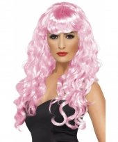 Roze krullenpruiken dames