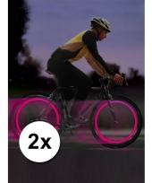 Roze led lampje voor fietswiel