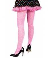 Roze legging met witte stippen