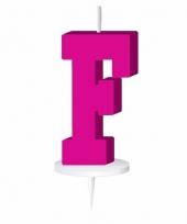 Roze letter kaars f