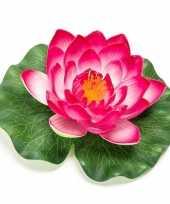 Roze lotus waterlelie kunstbloem 16 cm