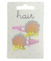 Roze met gele schelpen haarspeldjes 2 stuks