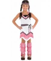 Roze met wit indianen jurkje voor meisjes