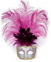 Roze oog masker met veertjes