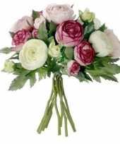 Roze ranunculus ranonkel kunstbloemen boeket 22 cm