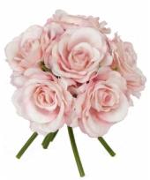 Roze rozen boeket 20 cm
