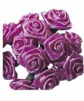 Roze satijnen roosjes 12 cm 10086068