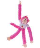 Roze slingeraap knuffel 40 cm