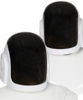 Ruimte disc jockey witte helmen