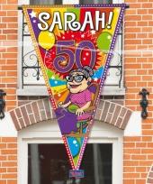 Sarah 50 jaar versiering puntvlag