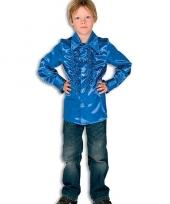 Satijnen blouse kobaltblauw jongens