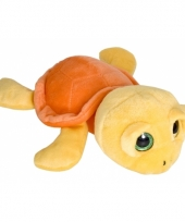 Schildpad knuffeltje geel oranje 27 cm
