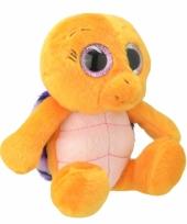 Schildpad knuffeltje oranje paars 18 cm