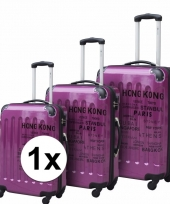 Schokbestendige koffers paars 22 inch