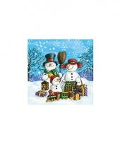Servetten met sneeuwpoppen