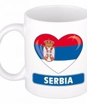 Servische vlag hartje koffiemok 300 ml