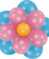 Setje bloem ballonnen blauw roze