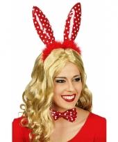 Sexy konijnenoren diadeem rood met witte stippen