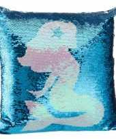 Sierkussen zeemeermin blauw 40 x 40 cm met pailletten