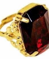Sinterklaas verkleed ring goud rood rechthoekig voor heren
