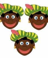 Sinterklaas zwarte pieten maskers setje 3 stuks 10096305