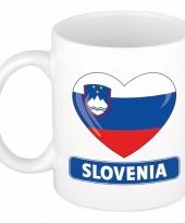 Sloveense vlag hartje koffiemok 300 ml
