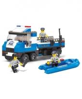 Sluban politiewagen met boot bouwsteentjes set