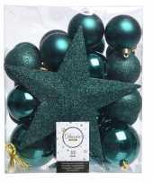 Smaragd groen kerstballen pakket met piek 33 stuks