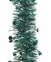 Smaragd groene kerstversiering folie slinger met ster 270 cm