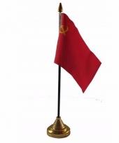 Sovjet unie tafelvlaggetje 10 x 15 cm met standaard