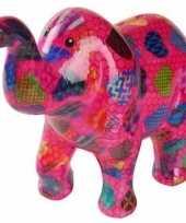 Spaarpot olifant roze met hartjes 20 cm